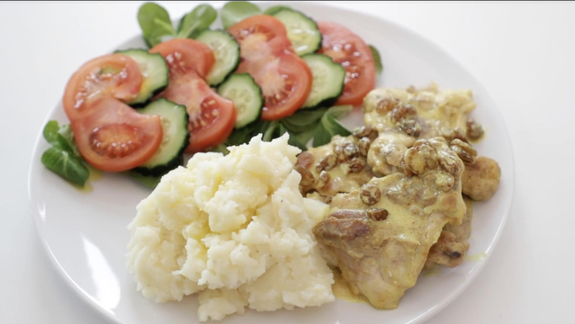 resultado final receta hiperproteica pollo curry