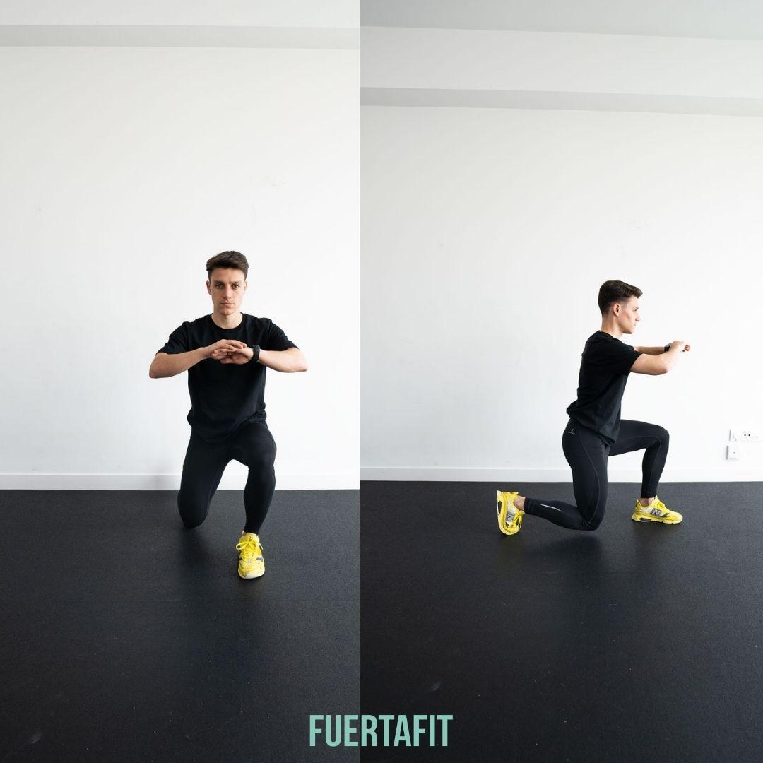 zancada ejercicio en rutina de piernas y glúteos