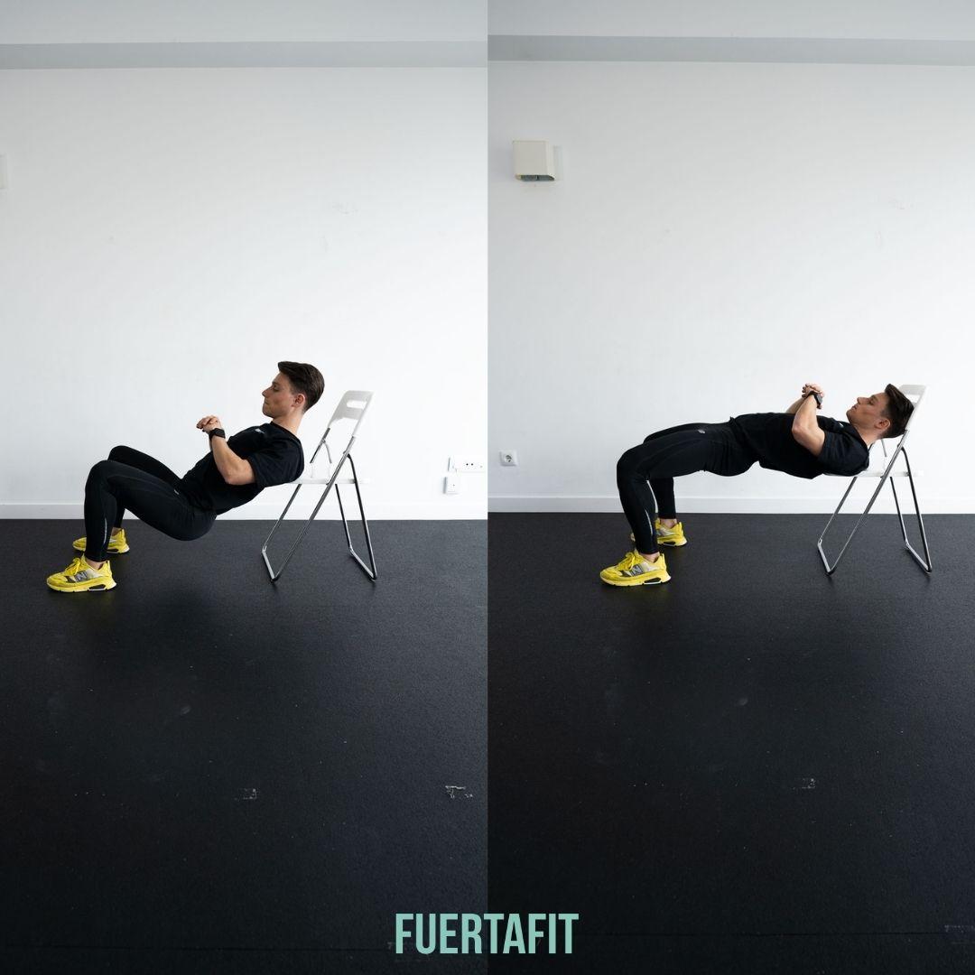 hip thrust ejercicio rutina piernas y glúteos en silla