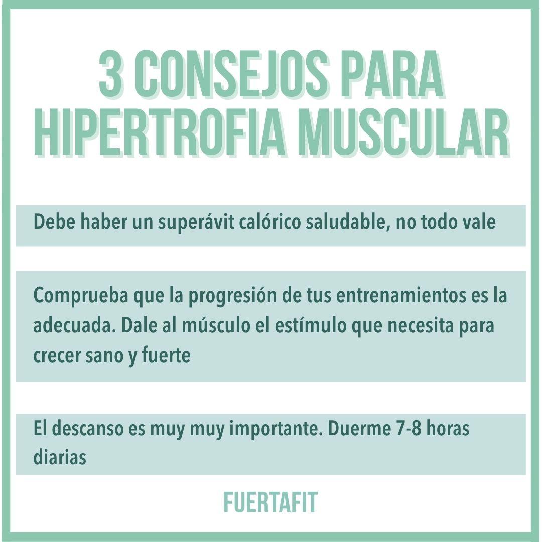 3 cosnejos para conseguir hipertrofia muscular